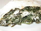 Strudel with spinach filling